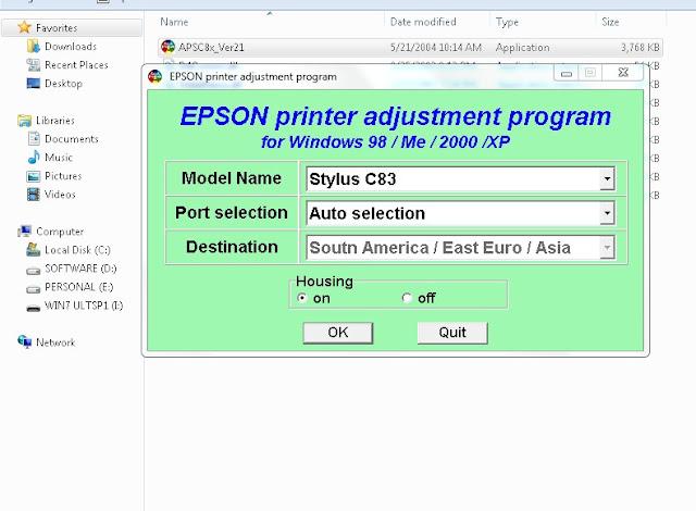 Resetter Epson Stylus C83
