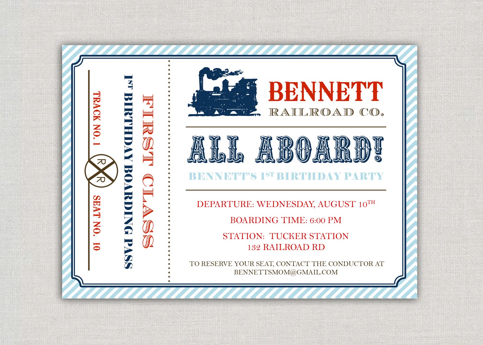 Train Party Invitation Template train themed birthday party with – Plane Ticket Invitation Template