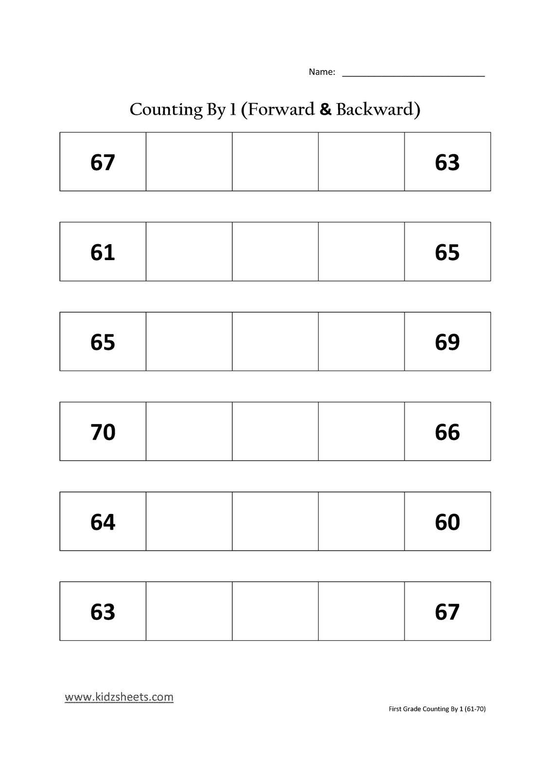 Kidz Worksheets: First Grade Counting by 1 (61-70) [ 1600 x 1131 Pixel ]