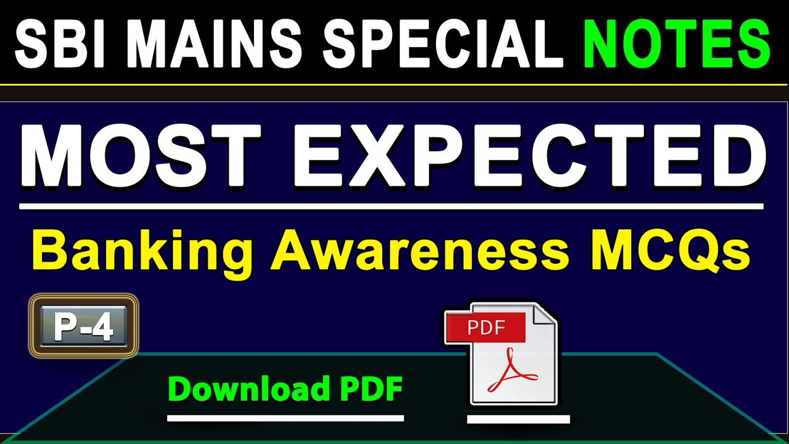 Banking Awareness Quiz for SBI Mains - 4