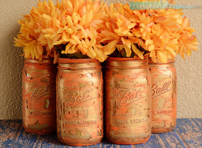 These Layered Paint Mason Jars are the perfect way to add a bit of vintage fun to your decor. These are in fall colors, but the possibilities are endless!