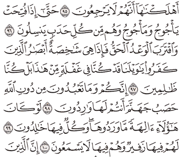 Tafsir Surat Al-Anbiya' Ayat 96, 97, 98, 99, 100