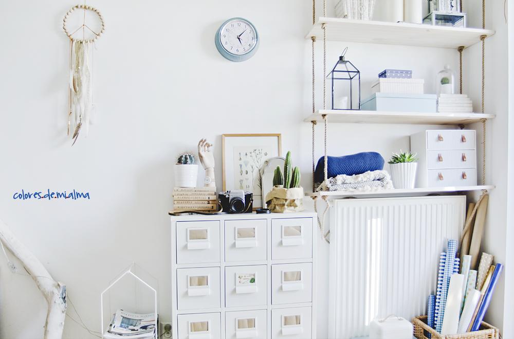 półka na linach, hanging shelves, metalowa komoda, gazetnik