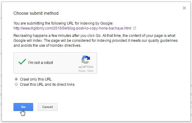 search console submit url Fetch As Google Feature in hindi