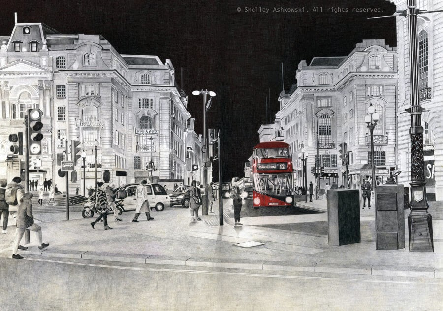 08-Piccadilly-Circus-S-Ashkowski-Cities-and-Landmarks-Ballpoint-Pen-Drawings-www-designstack-co