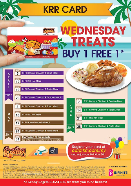 Kenny Rogers ROASTERS Malaysia Buy 1 Free 1 Wednesday Treats Promo