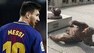 MESSI STATUE DESTROY FOR SECOND TIME IN 2017