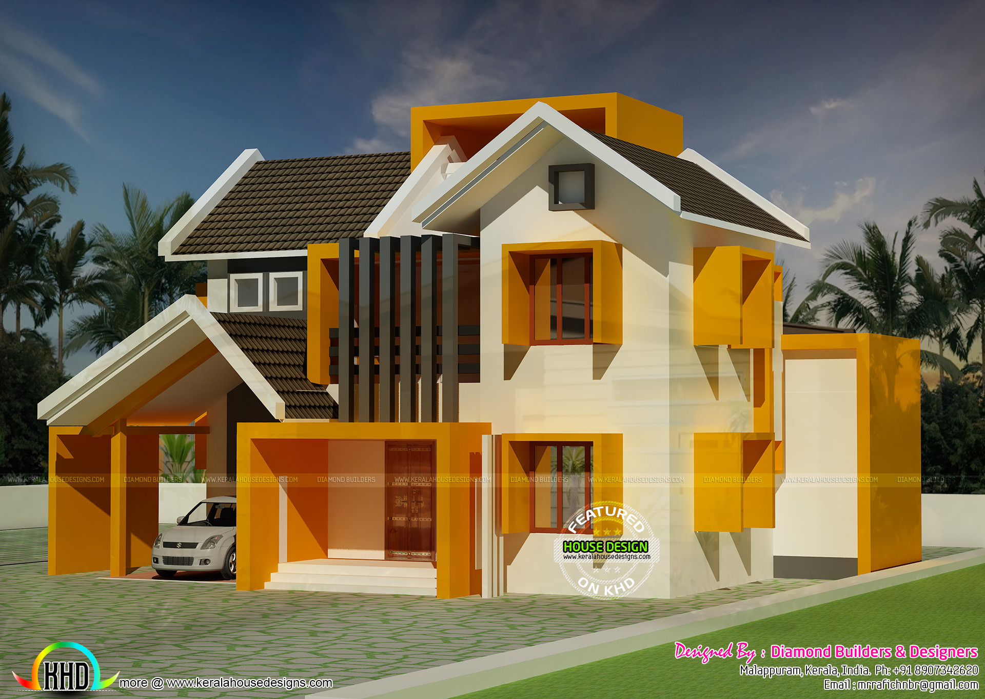 Colorful sloping roof home in 1600 sq ft kerala home for 1600 square feet house