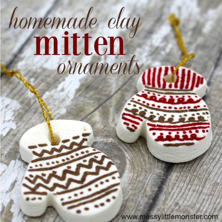 Homemade clay ornament recipe. Mitten ornaments