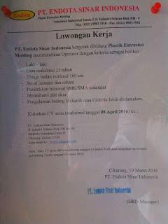 pabrik PT. Endota Sinar Indonesia jababeka