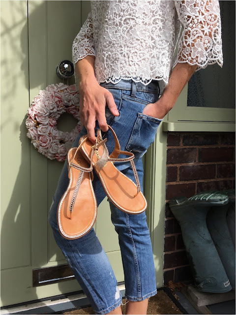 My Midlife Fashion. Zara lace top, zara cigarette distressed jeans, lotus shoes reginan rose gold and flitz flat sandals