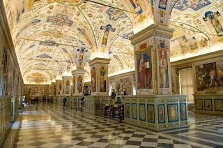 The beautiful Apostolic Library at the University of  Bologna
