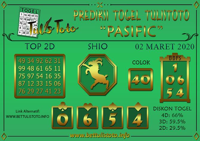 Prediksi Togel PASIFIC TULISTOTO 02 MARET 2020
