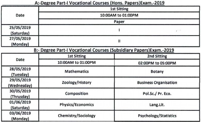 Patliputra University Vocational 1st Year (BCA-BSc) Time Table