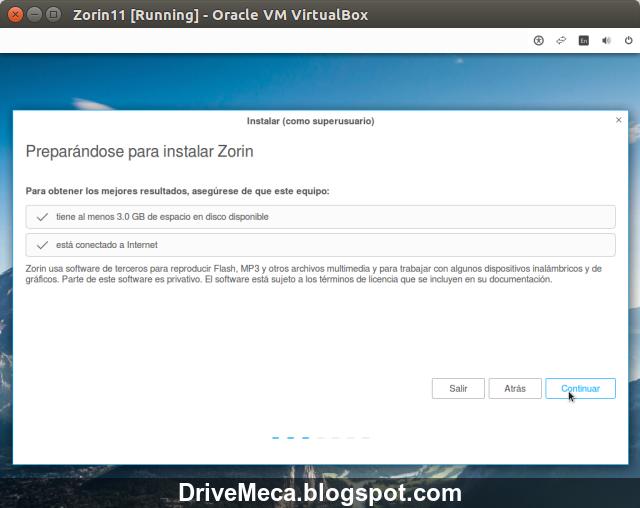 DriveMeca instalando Zorin OS 11 Core paso a paso