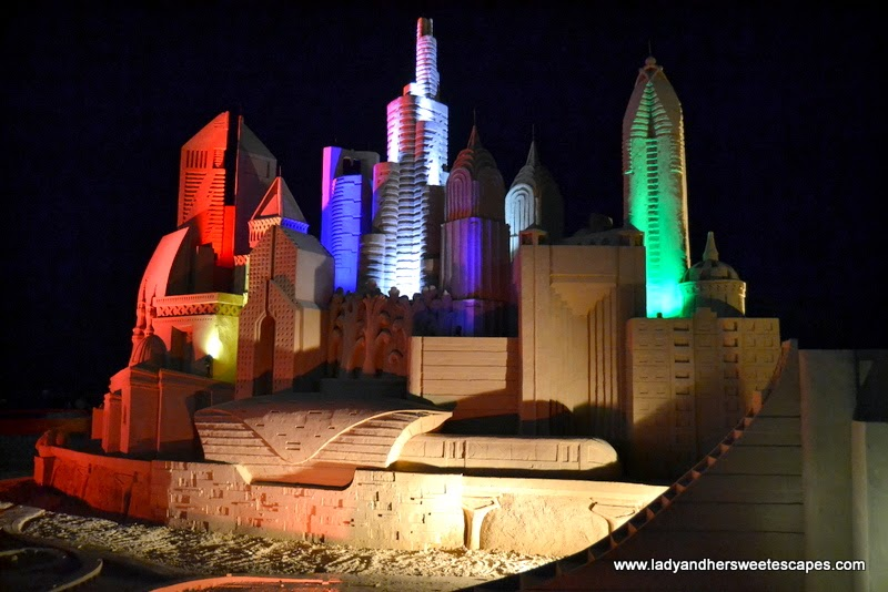 sand replica of Dubai's iconic structures at JBR Beach
