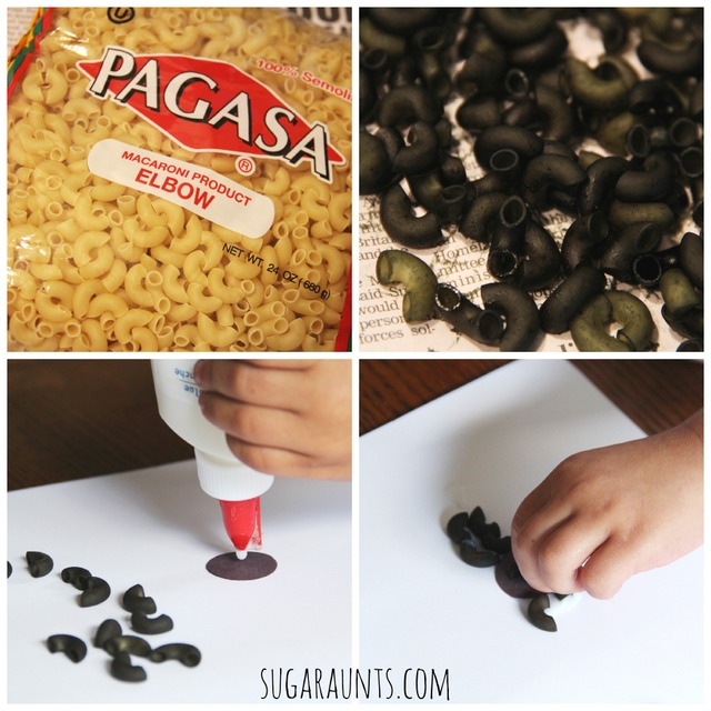 How to dye pasta for a spider craft. Use dyed noodles for a Halloween spider craft.