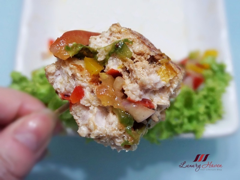 healthy homemade juicy hamburgers with bell peppers