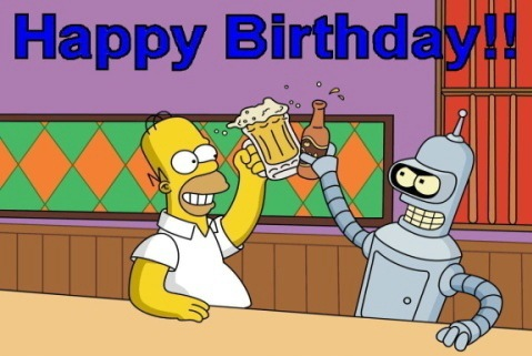 Homer Simpson and Bender birthday