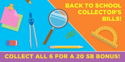 Image: As everybody gets ready for Back to School, Swagbucks has a bonus for you in the form of Back to School Collector's Bills