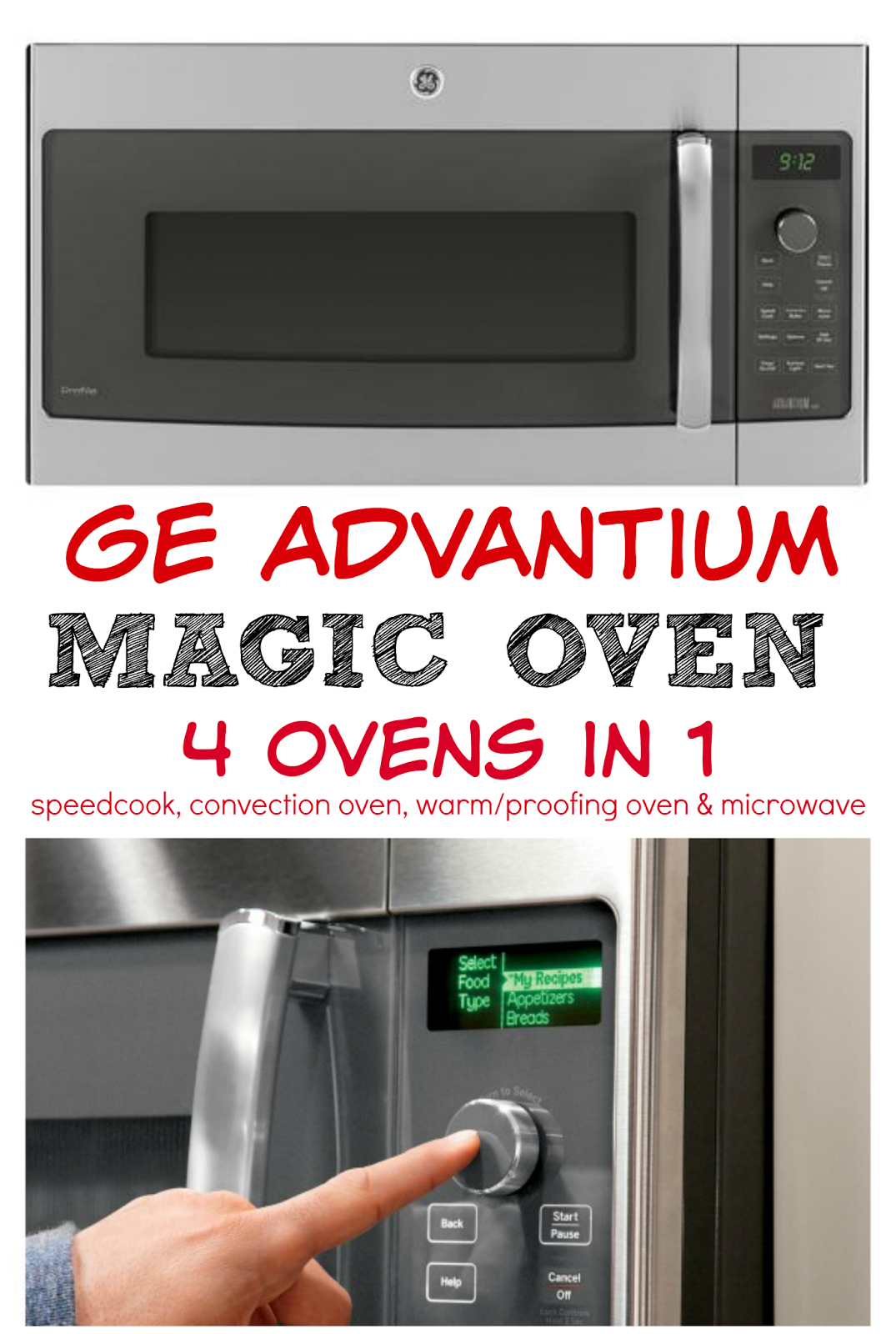 GE Advantium Oven - this oven is MAGIC! It is 4 ovens in 1 - speed cook, convection, warm/proofing and a microwave. The same oven bakes, broils and microwaves. It has TONS of preset recipes. You husband and kids will never starve with this oven!
