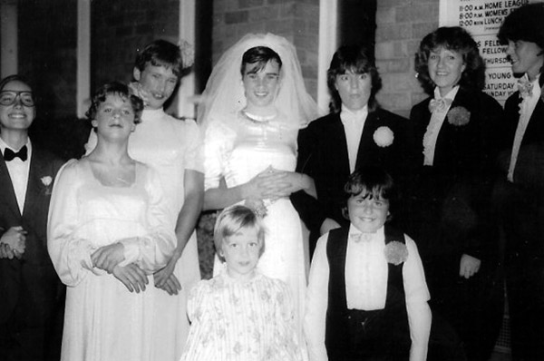 A role-reversed wedding party in 1984.