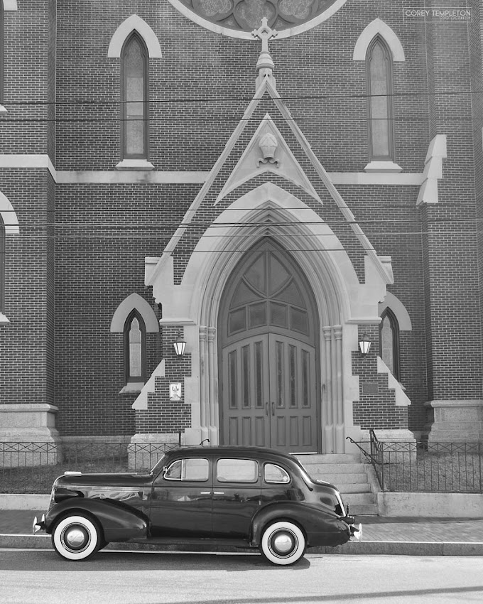 Portland, Maine USA November 2011 throwback to old car in front of The Cathedral of the Immaculate Conception. Photo by Corey Templeton.