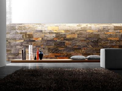 Jasa Tukang taman surabaya - Dinding Batu Alam Interior