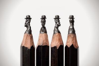 Micro Escultura de persona en la punta de un lápiz