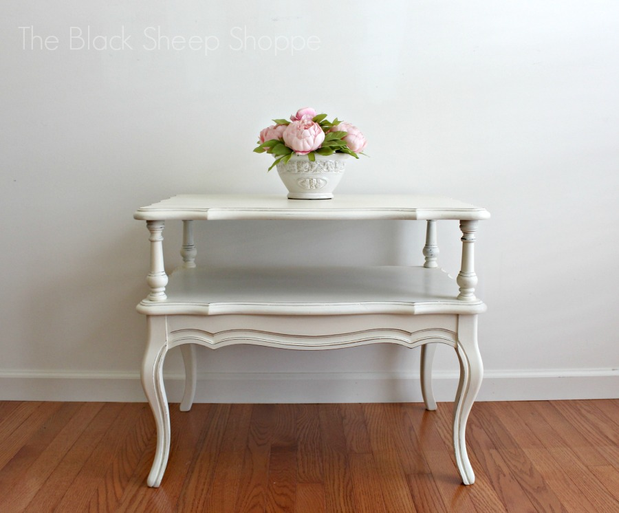 French Provincial style Mersman end table painted in Old White Chalk Paint.