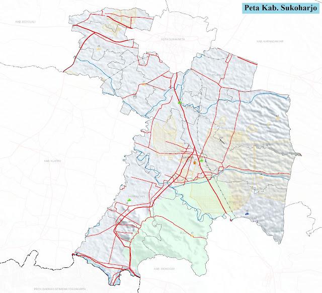 Peta Kabupaten Sukoharjo HD