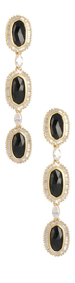 Kendra Scott Long Baguette-Trim 3-Oval Drop Earrings