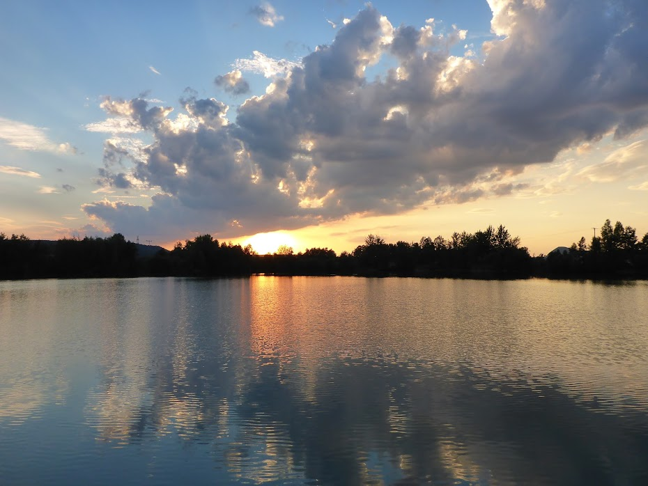 Закат, солнце, озеро