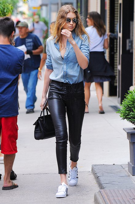 Gigi Hadid Wears Custom Denim & Leather in NYC