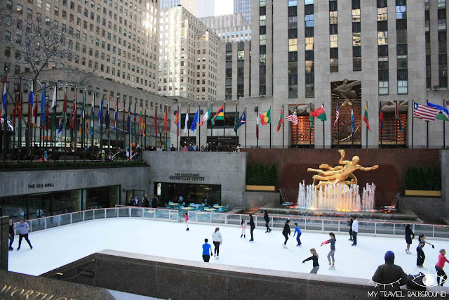 My Travel Background : Rockefeller Center et sa patinoire en avril, New York