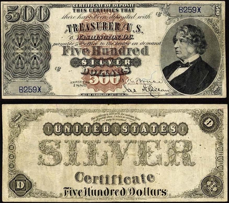 1880 500 Dollar Silver Certificates