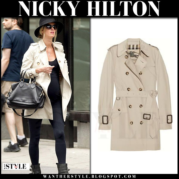 Nicky Hilton in beige trench coat burberry what she wore