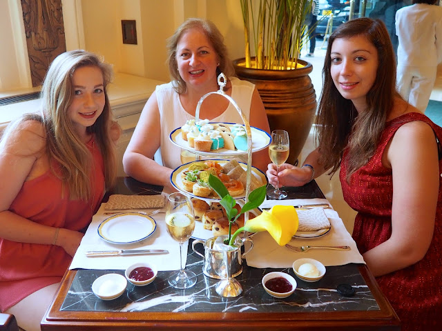 Me, my mum and sister enjoying afternoon tea at The Peninsula, Hong Kong