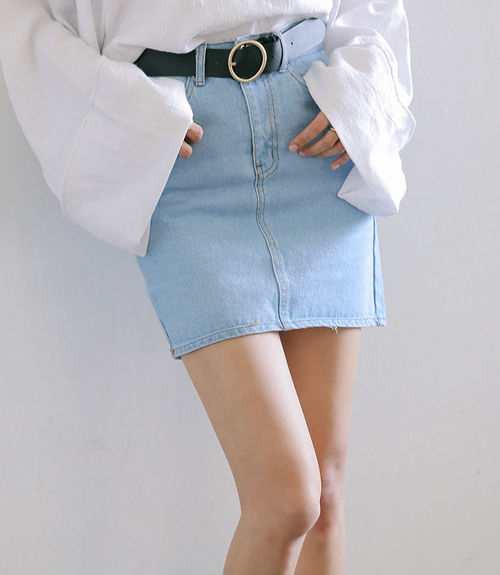 High-Waist Denim Mini Skirt