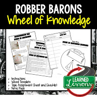 Robber Barons, American History Activity, American History Interactive Notebook, American History Wheel of Knowledge