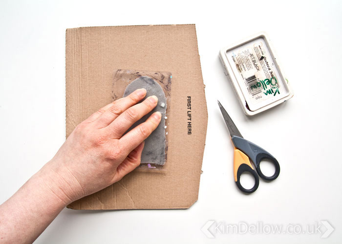 Making the frame for the door on the grungy but cute interactive Art journal page by Kim Dellow