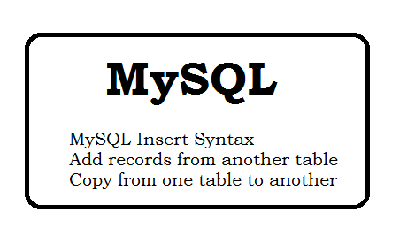 mysql insert syntax - Add records from another table - Copy Table from one table to another