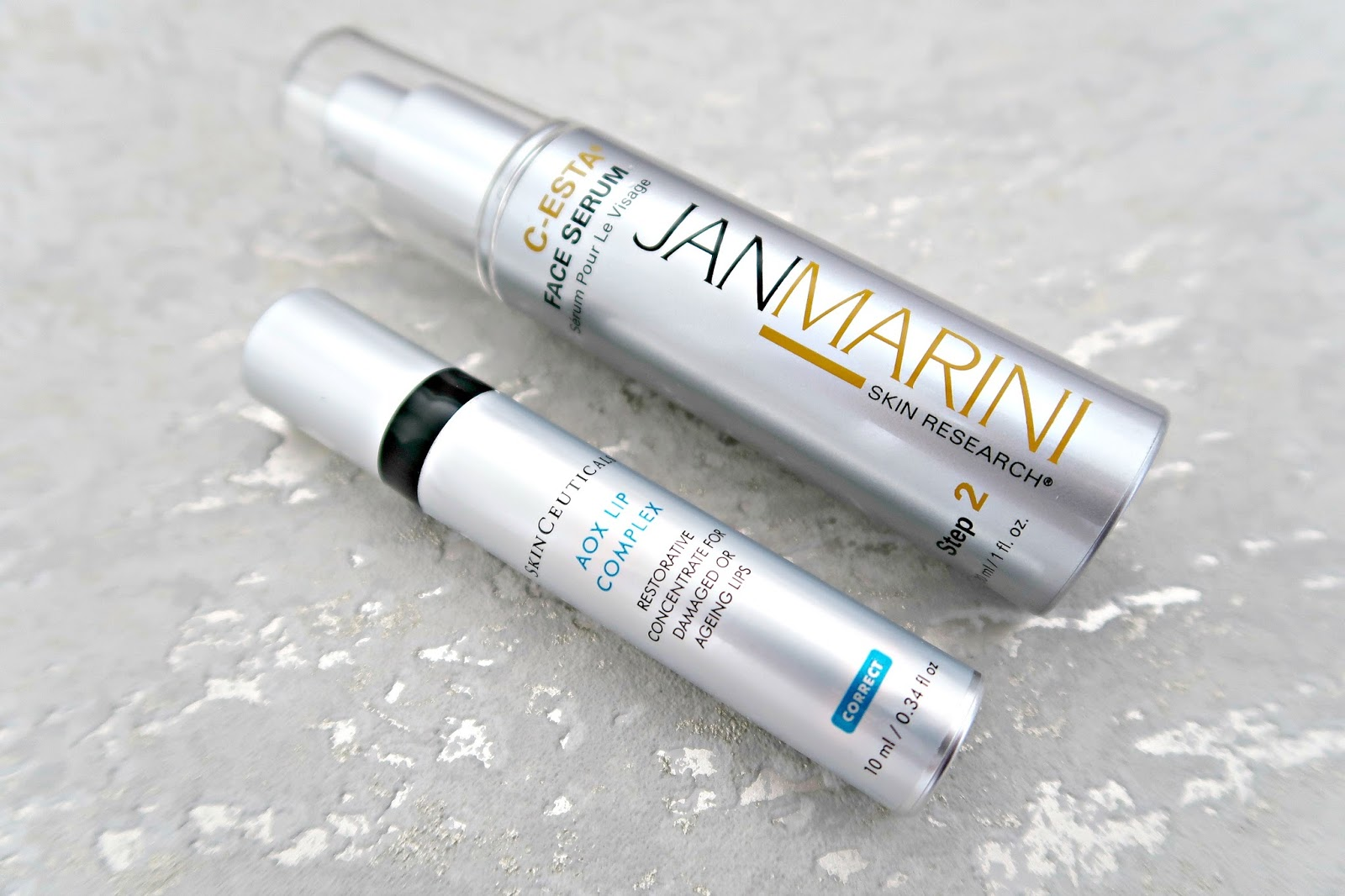 Jan Marini C-ESTA Eye Repair Concentrate and SkinCeuticals AOX Lip Complex blog review seasonal skin savers