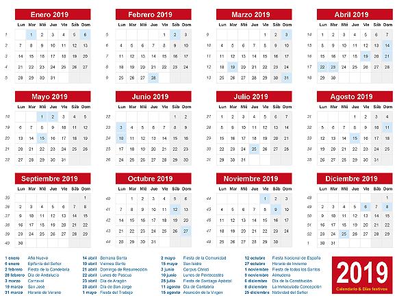 Calendario 2019 con dias festivos de España