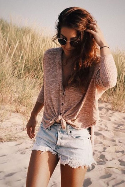 Button Front Oversized Thermal Top with Shorts | 19 Gorgeous Fall Outfits You Want to Wear Over And Over Again