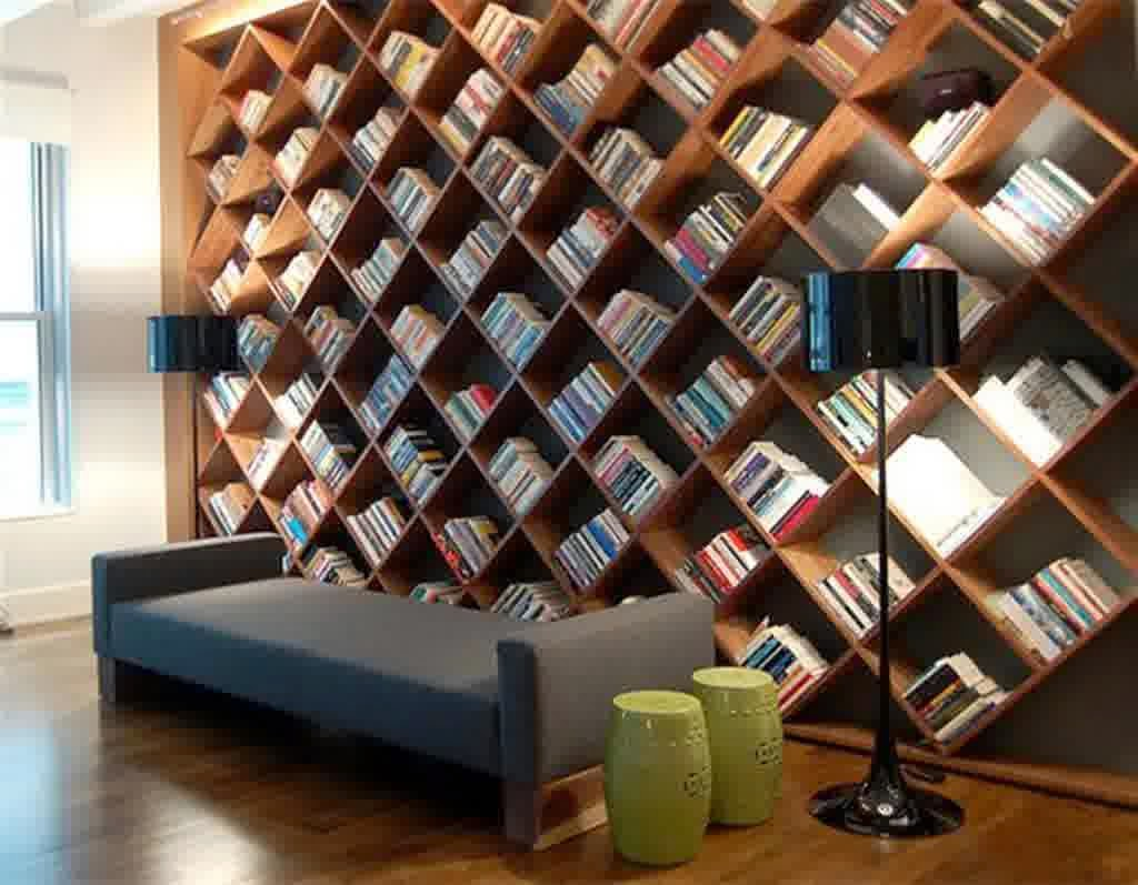 Modern Home Library Design With Useful Storage Bench Furniture