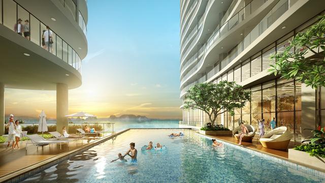 Bể bơi ngoài trời view vịnh Hạ Long