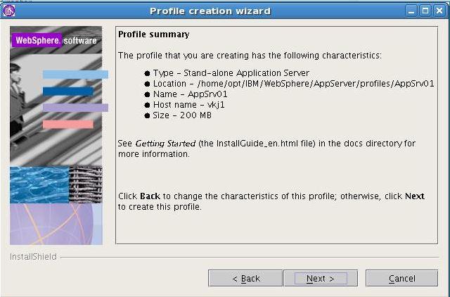 WebSphere Application server profile creation