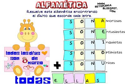 Mujer, Día de la Mujer, Alfaméticas, Criptoaritméticas, Criptosumas, Juego de Letras, Desafíos Matemáticos, Problemas Matemáticos