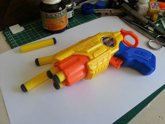 Scratch building mechanical engine detail using a Nerf gun